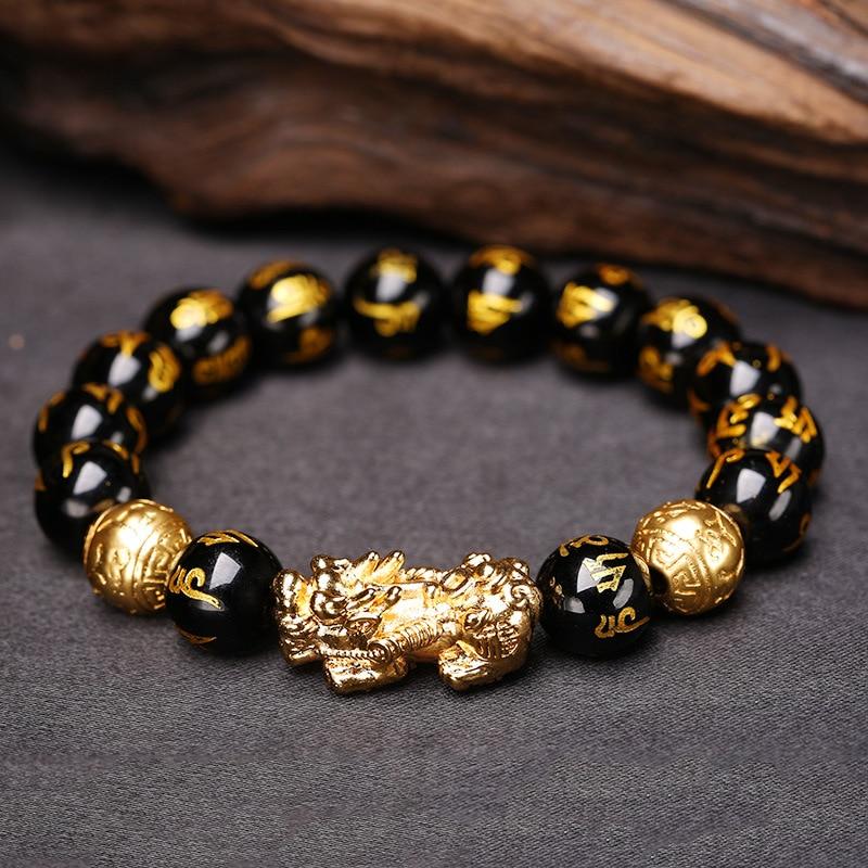 Bracelet en pierre obsidienne Pixiu Feng Shui