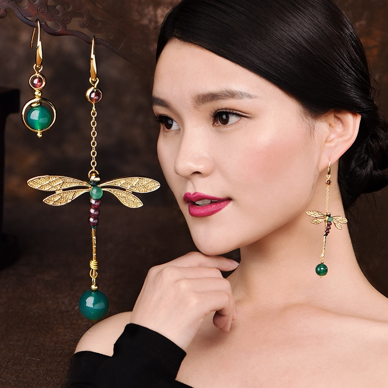 Boucles-d-oreilles-chinoises-longues-pour-femmes-boucles-d-oreilles-asym-triques-libellule-bijoux-Vintage-pour