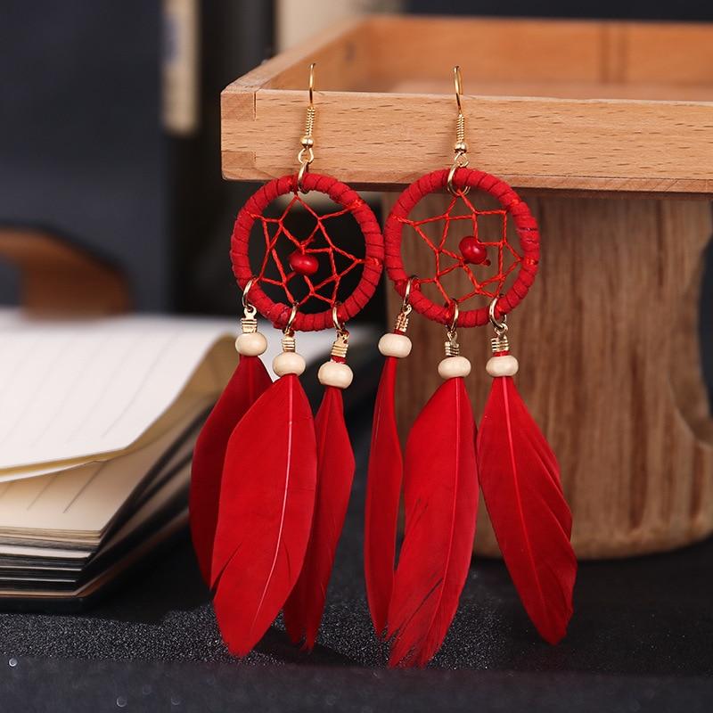 Boucles d\'oreilles en plumes rouges