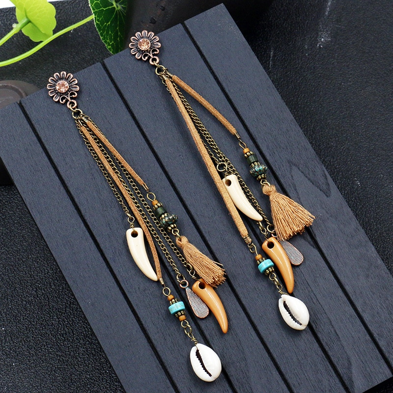 Boucles d\'oreilles pendantes naturelles