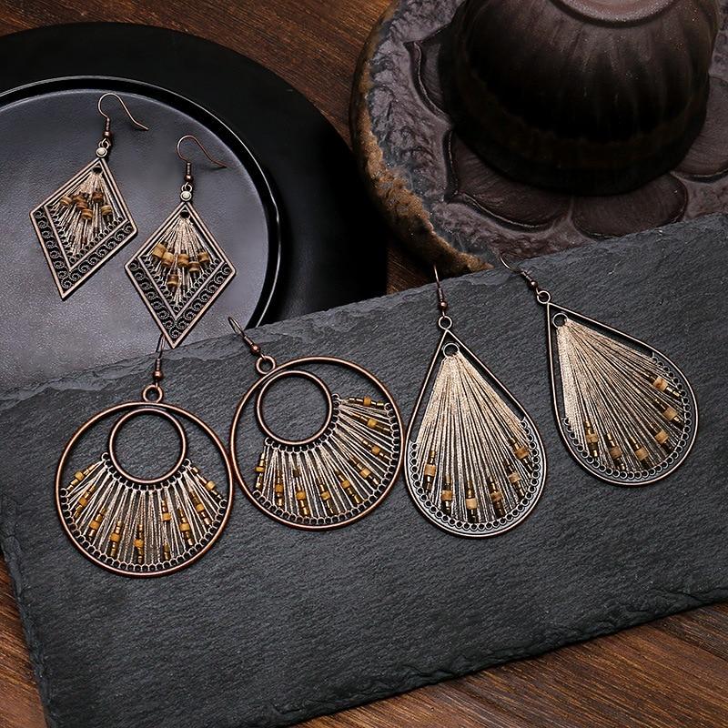 Boucles d\'oreilles géométriques africaine