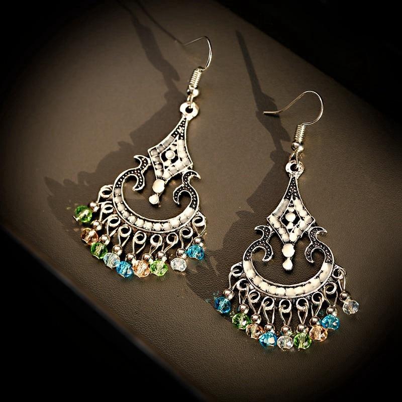 Boucles d\'oreilles Jhumka Indienne pendantes