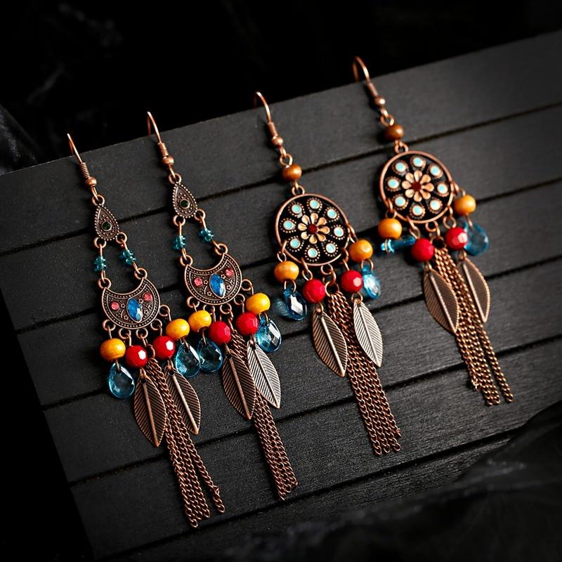 Boucles d\'oreilles géométriques tibétaines