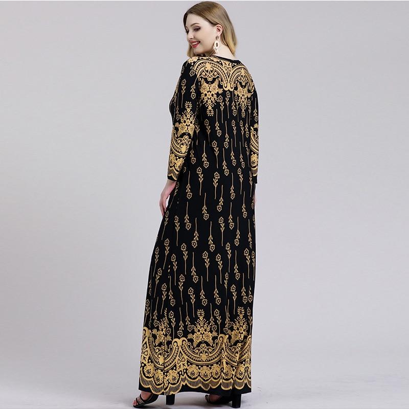 Robe caftan Turque manches longues imprimée