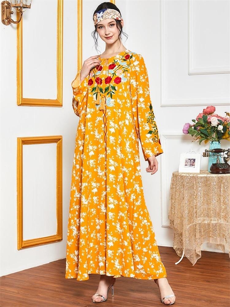 Robe-Maxi-musulmane-pour-femmes-broderie-florale-ethnique-col-rond-manches-longues-v-tement-arabe-grande