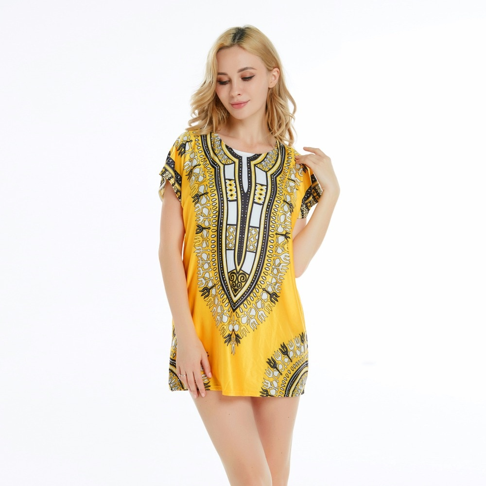 Robe-africaine-pour-femmes-jaune-mignon-Sexy-T-shirt-traditionnel-imprim-Dashiki-boh-me