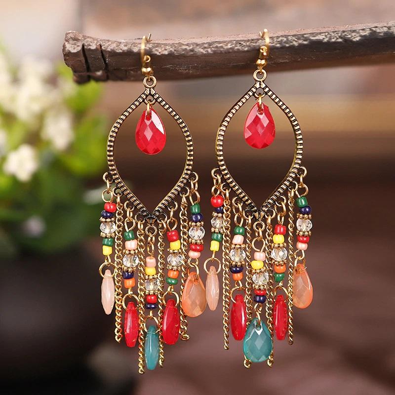 Boucles d\'oreilles pampilles pendantes  en perles de cristal