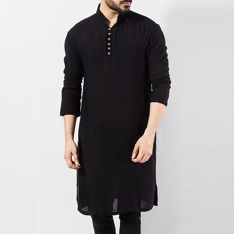 Chemise kurta longue noir