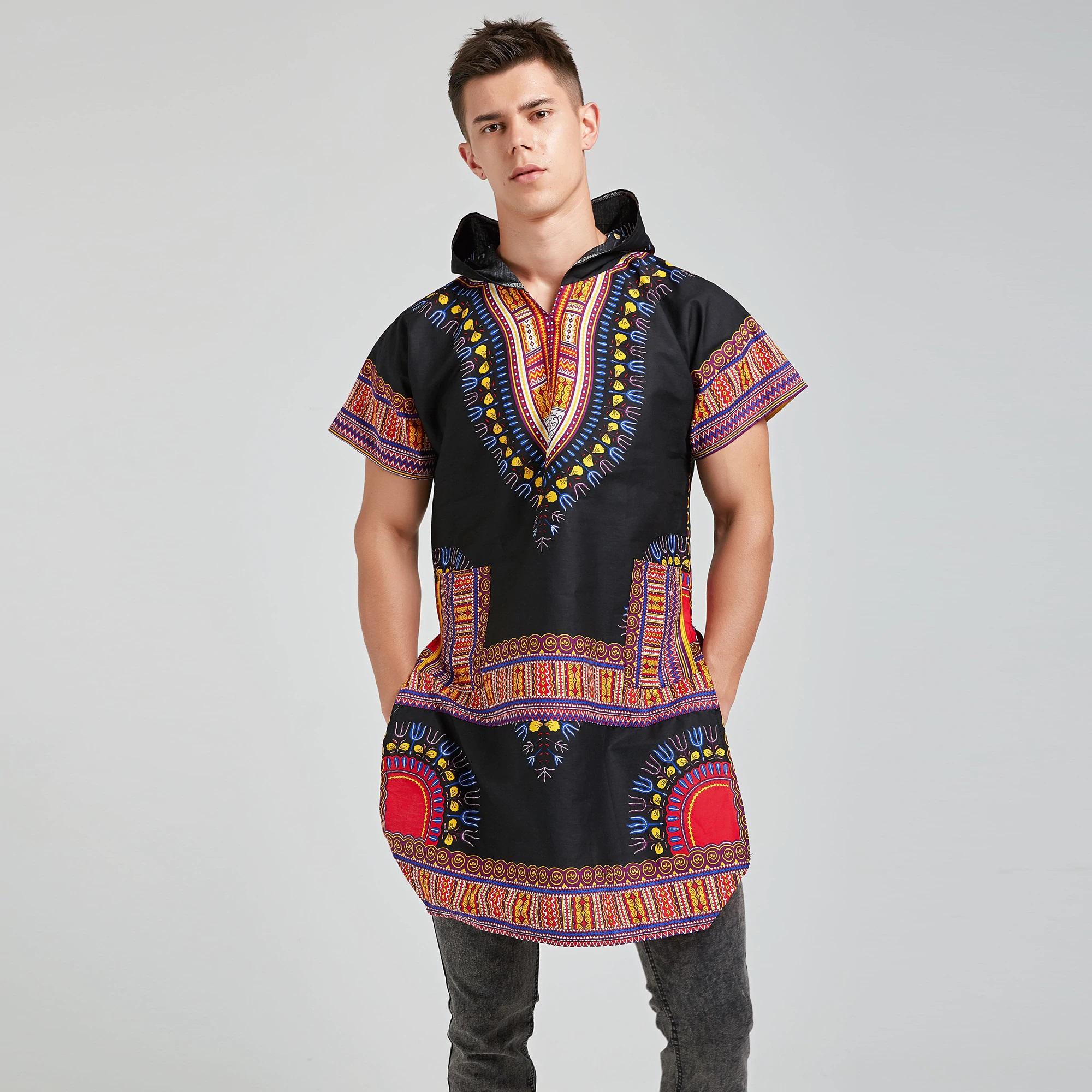 Long T-shirt Africain dashiki  à capuche
