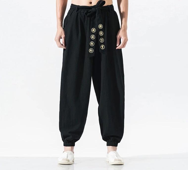 Pantalon décontracté large avec ceinture