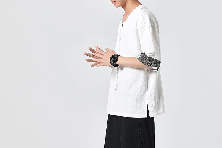 T-shirt demi manches brodé chinois