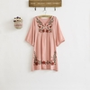 Robe-ample-fleurs-style-ethnique-Vintage-70s-tenue-brod-e-Hippie-style-BOHO-mexicain-bouffante-slv