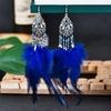 Boho-t-bleu-longues-plumes-boucles-d-oreilles-pour-femmes-Vintage-argent-couleur-fleur-perles-gland