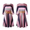 Robe-Africaine-rayures-arc-en-ciel-pour-femmes-coupe-trap-ze-avec-ceinture-traditionnelle-Dashiki-Ankara