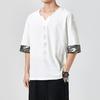 Kimonos-japonais-T-shirt-manches-courtes-brod-Harajuku-Yukata-japon-t-homme-lin-hommes-chemises-pantalon