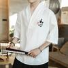 T-shirt-brod-pour-hommes-Kimono-japonais-chemise-manches-courtes-Harajuku-pantalon-v-tements-asiatiques-Cardigan