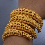 4-pi-ces-or-bracelets-de-manchette-bracelets-africains-thiopiens-femmes-bracelets-Bracelet-bijoux-or-fleur