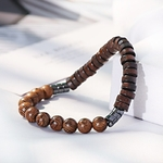 bracelet marron perles homme