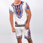 Ensemble t-shirt et short dashiki blanc homme