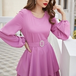 Robe manches loongues rose