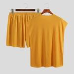 short t shirt homme jaune