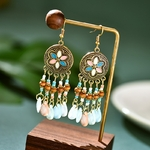 Ethnique-r-tro-fleur-Boho-Bijoux-turc-Jhumka-boucles-d-oreilles-femmes-Vintage-turquie-bois-perl