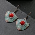 Boucles-d-oreilles-en-pierre-Turquoises-pour-femmes-bouclier-ethnique-sculpt-en-m-tal-bijoux-tib