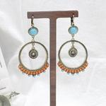 Boucles-d-oreilles-rondes-en-alliage-ethnique-pour-femmes-perles-Orange-goutte-d-eau-bijoux-Vintage