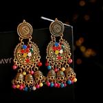 Boucles-d-oreilles-r-tro-pampilles-pour-femmes-indiennes-ethniques-cloche-or-multicolore-pompon-perles-ajour