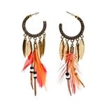 Vintage-t-Boho-rouge-plume-indien-Tribal-boucles-d-oreilles-2020-ethnique-feuille-d-or-alliage