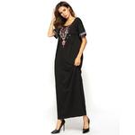 Abaya-robe-musulmane-en-coton-brod-manches-courtes-tissu-islamique-Ramadan-d-contract-Maxi-robe-musulmane