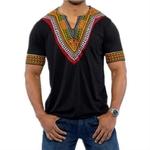 T-shirt-africain-manches-courtes-pour-hommes-v-tement-africain-Dashiki-imprim-riche-et-Bazin-d