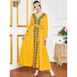 Abaya-Robe-Maxi-brod-e-fleurs-manches-longues-grande-taille-v-tements-arabes-islamiques-Jubah-marocain