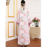 Abaya-robe-longue-brod-e-pour-femme-v-tement-ethnique-arabe-rose-col-en-V-manches