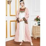 Robe-Maxi-en-Patchwork-ethnique-rose-grande-taille-longue-manches-longues-arabe-musulman-eau-kaftan-marocain