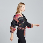 Robe-africaine-pour-femmes-col-en-V-Dashiki-haut-f-minin-en-coton-festa-v-tements