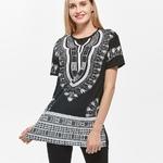 Dashiki-longue-robe-africaine-pour-femmes-en-coton-grande-taille-T-shirt-imprim-manches-courtes-noir