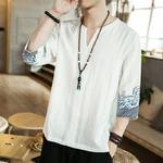 T-shirt japonais manche 78 col rond et V blanc