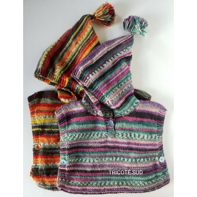 Kit tricot poncho Sacha taille 3/4ans