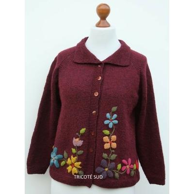 Kit tricot veste Clématite version fleurie