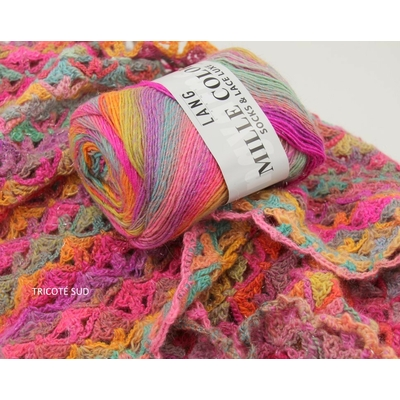MILLE COLORI SOCKS AND LACE LUXE LANG YARNS COLORIS 53 (2) (Medium)