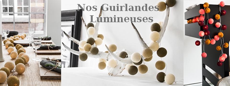 Guirlandes décoratives leds boules de coton