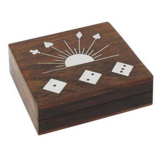 Boite jeux cartes + 5 dés bois boutique valbonne idees cadeaux le palmier aux chouettes 4