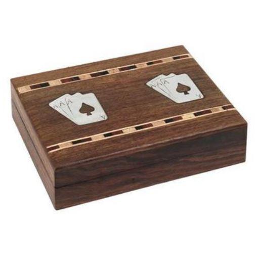 Boite en bois avec 2 jeux de cartes