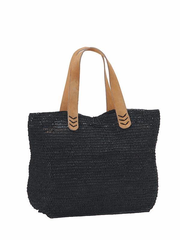 sac crochet en raphia noir