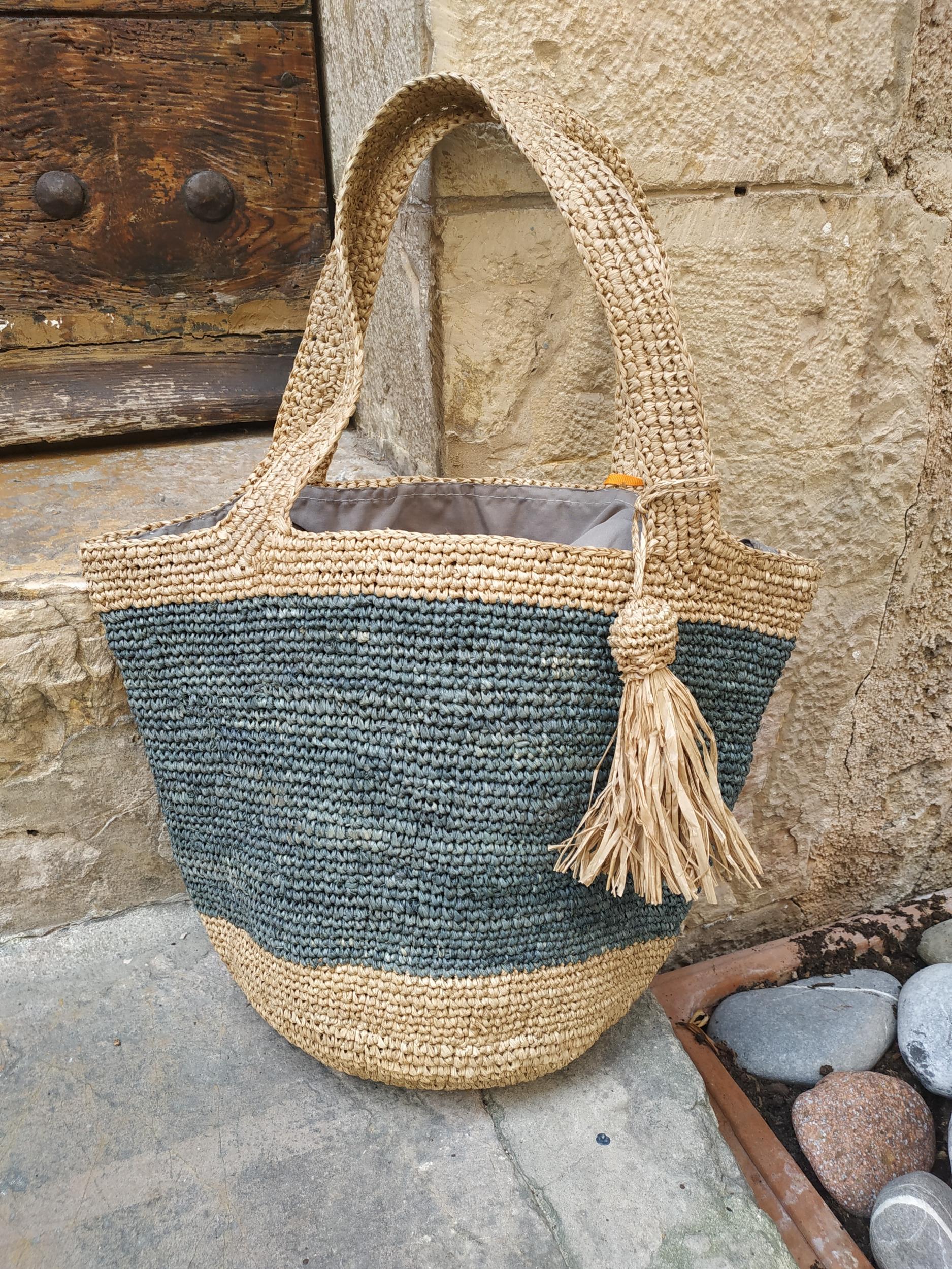 sac crochet en raphia gris