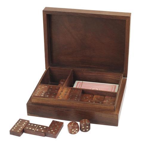 Boite 3 jeux Dominos + cartes + dés
