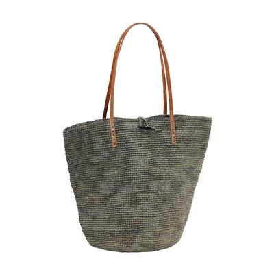 sac crochet raphia gris