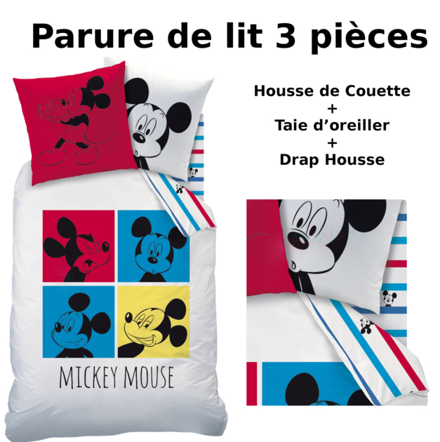 mickey parure de lit 3pcs housse de couette taie d 39 oreiller drap housse photomaton. Black Bedroom Furniture Sets. Home Design Ideas