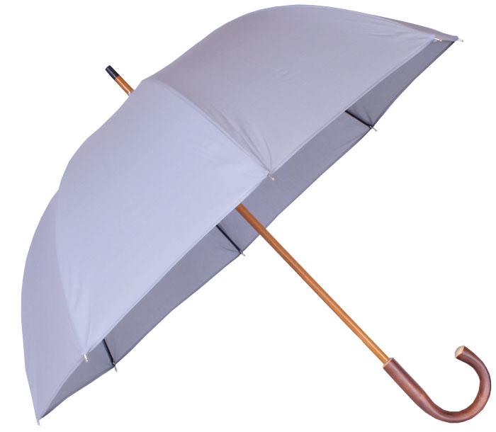 Parapluie grande taille gris, poignée châtaignier